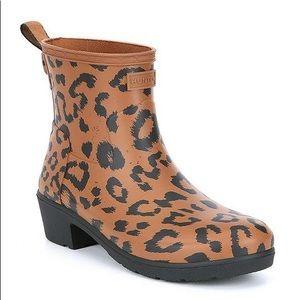 Hunter Boots Refined Leopard Biker Rain Boot